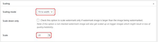 Easy Watermark 設定 Scalling