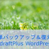 簡単操作 WordPressバックアップ&復元 UpdraftPlus WordPress Backup Plugin