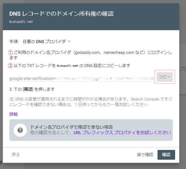 Google Search Console DNSレコード